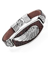 Mens Angels Wing Chocolate Brown Genuine Leather Cuff Bracelet (Silver C... - $24.32