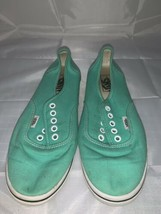 Vans Authentic Classic Turquoise Teal Blue Skate Shoes Mens 6 Women 8.5 - $12.19
