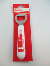 Coca-Cola Handheld Bottle Opener White Handle with Red Contour Bottle  - $4.21