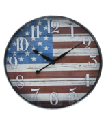 American Flag Dial Wall Clock Home Hallway Decor Classic Vintage USA Woo... - £27.87 GBP