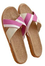 Female Summer Sandals And Slippers Couple Home Skid Slippers Flax Slippers M