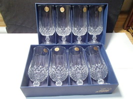 8 CRISTAL D'ARQUES LONGCHAMP LRG FOOTED ICE TEA GOBLETS~~Discontinued - $79.95