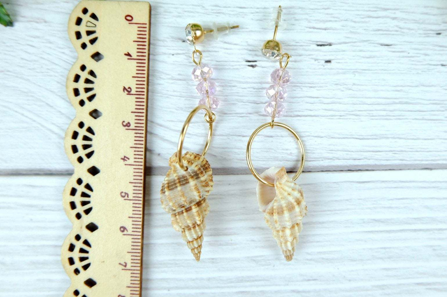 Beach Earrings, Mismatched natural Shell Dangle Earrings with Pink Crystal image 4