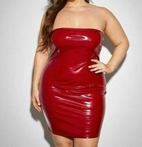 Women Faux PU Leather Strapless Sleeveless Tube Bodycon Pencil Dress Plu... - $56.69