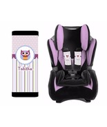 PERSONALIZED BABY TODDLER CAR SEAT STRAP COVERS PURPLE STRIPES OWL - $14.68