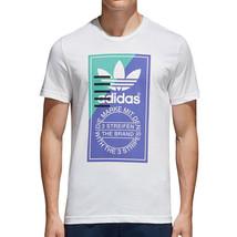 Adidas Originals Front Graphic Men's Shortsleeve T-Shirt White-Blue cd6833 - $26.57
