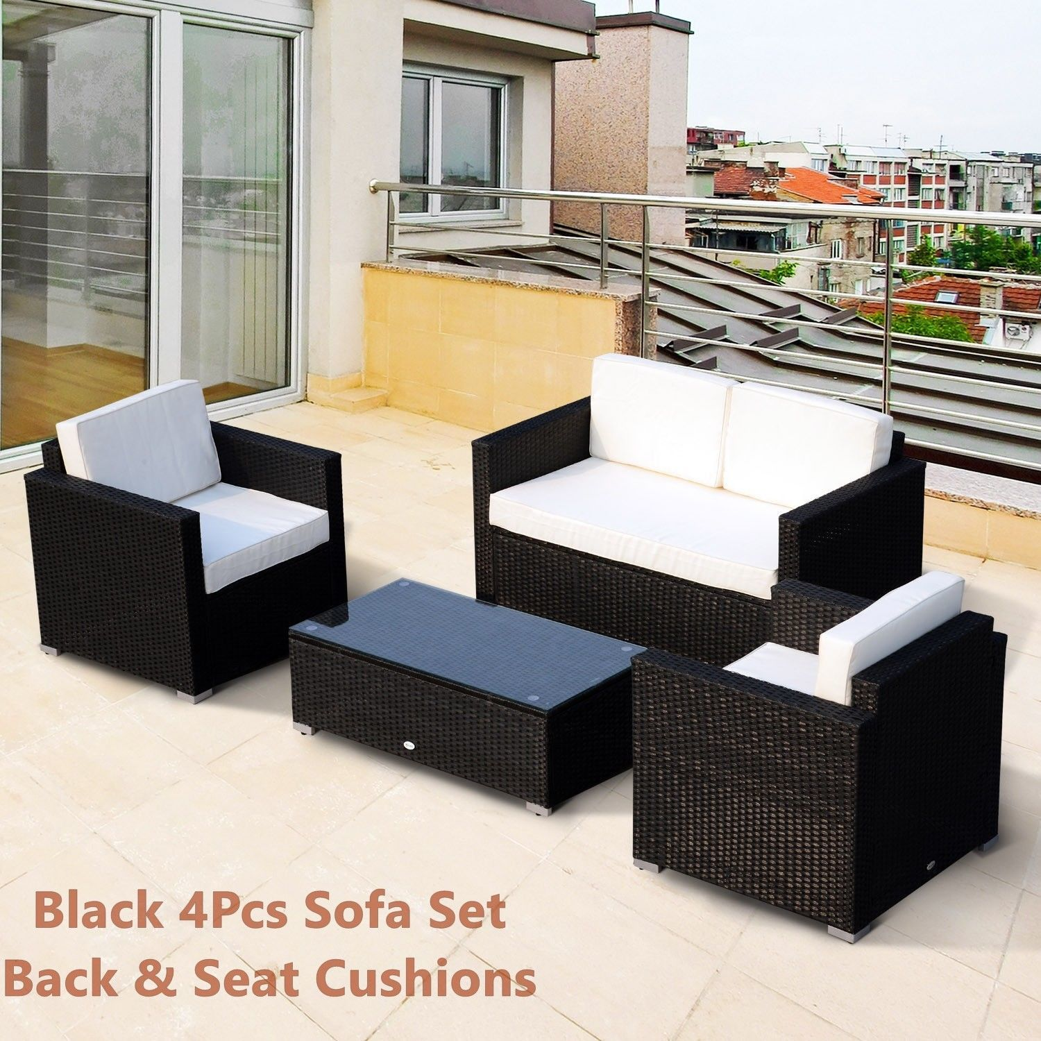 Rattan Sofa Cushioned Set Garden Wicker Glass Top Table Armchairs 4Pcs Black New