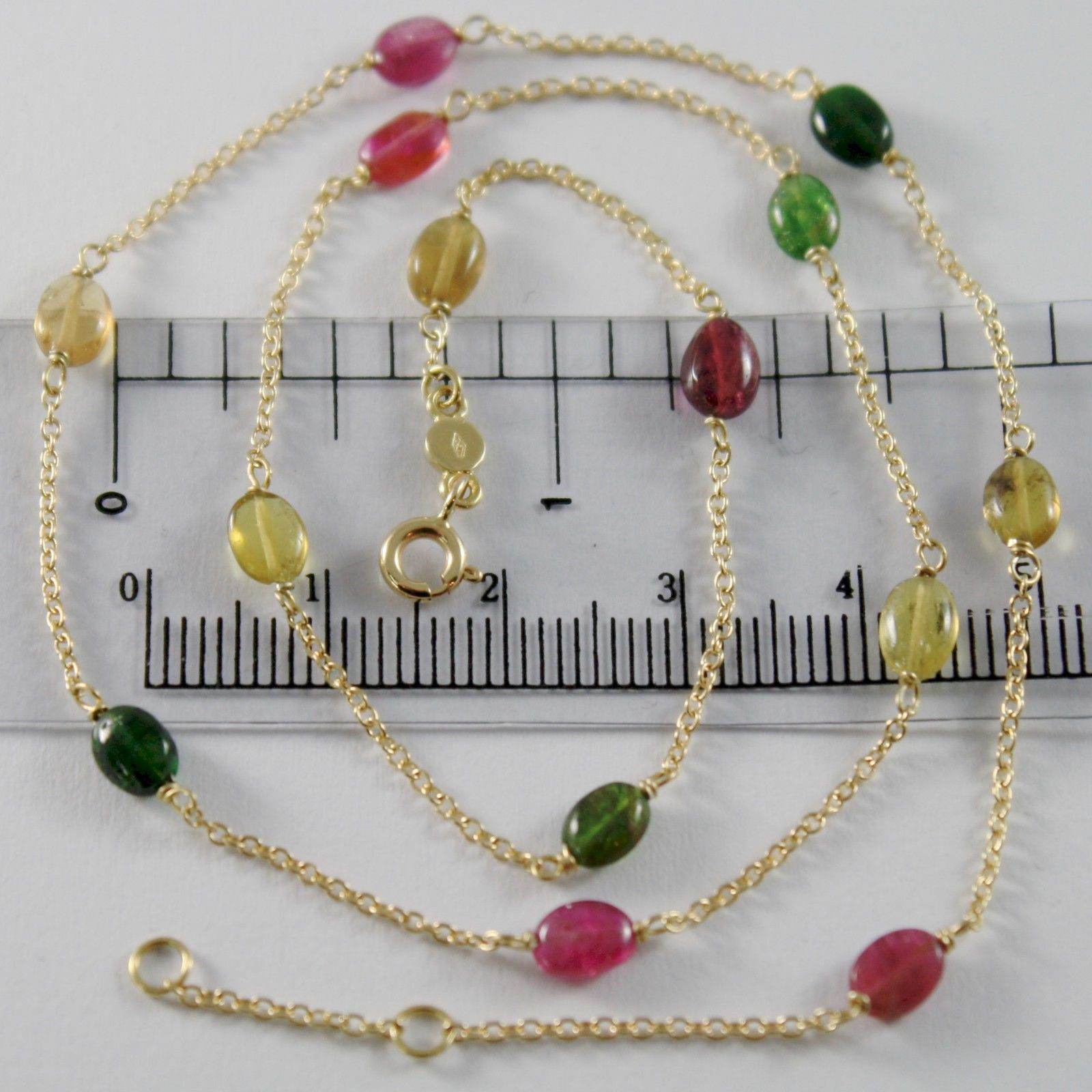 18K YELLOW GOLD MINI ROLO CHAIN NECKLACE WITH OVAL TOURMALINE, MADE IN ITALY