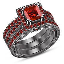 14k Black Gold Plated 925 Silver Princess Cut Red Garnet 3Pcs Wedding Ri... - $146.90