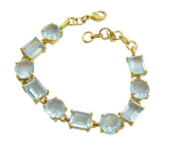 fair blue topaz cz Gold Plated Blue Bracelet Natural jewellery US gift - $26.72