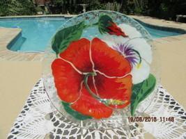 SYDENSTRICKER GALLERIES VINTAGE FUSED ART GLASS 1974 HIBISCUS PLATE MINT... - $95.00