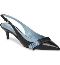 Prada Pointy Toe Pump CAPRETTO Black Blue LOGO Bow Leather Slingback Heels - $432.00