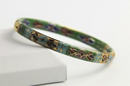VINTAGE ESTATE CHINESE EXPORT CHAMPLEVE CLOISONNE ENAMEL HINGED BANGLE B... - $25.00