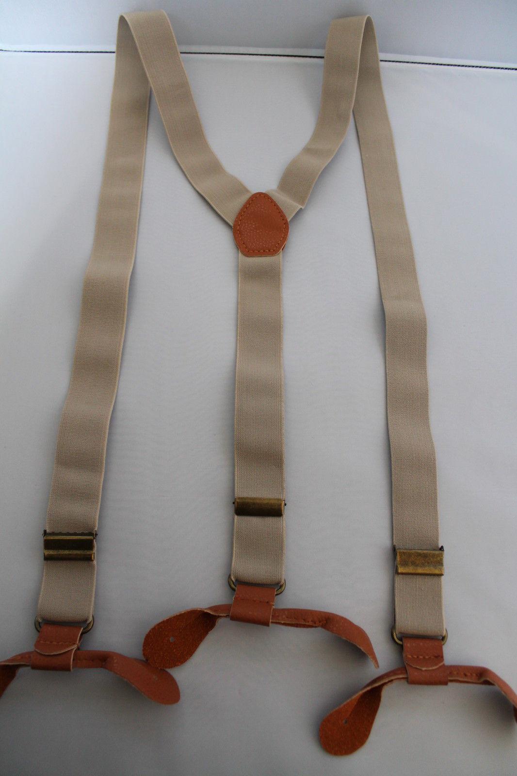 Beige Unisex Suspender Braces Adjustable Leather Button Holes Lycra/Elastane UK image 2