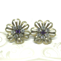 Vintage 50s Screw Back Floral Clear and Purple Rhinestone Earrings Prong... - $19.74