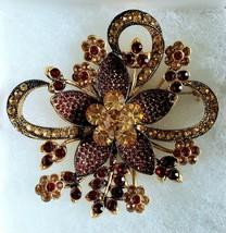 Lg~Amber Avon 2006 Anniversary 35 Years Rhinestone brooch pin - $44.99