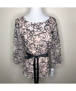 Onyx Nite Blush Pink Black Floral Net Top w/ Belt Sz Small - $48.00