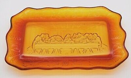 """Vintage Amber Indiana Glass """"The Last Supper"""" Bread Plate Platter Tray 11 x 7 - $35.99"""