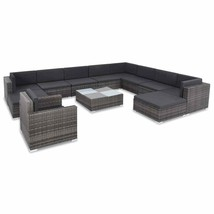 vidaXL Outdoor Sofa Set 35 Piece Poly Rattan Wicker Gray Patio Couch Lounge - $972.99