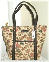 Longaberger Autumn Path Fall Leaves Tote Bag Acorns Berries Faux Leather... - $22.00