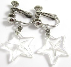 Vintage Silver Tone Clear Crystal Dangle Star Clip-On Screw Tight Earrin... - $17.81