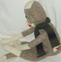 "Sock Monkey 20"" Plush Doll Brown Scarf image 3"