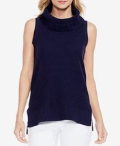 Two by Vince Camuto Womens XL Navy Blue Sleeveless Marled Turtleneck Swe... - $17.82