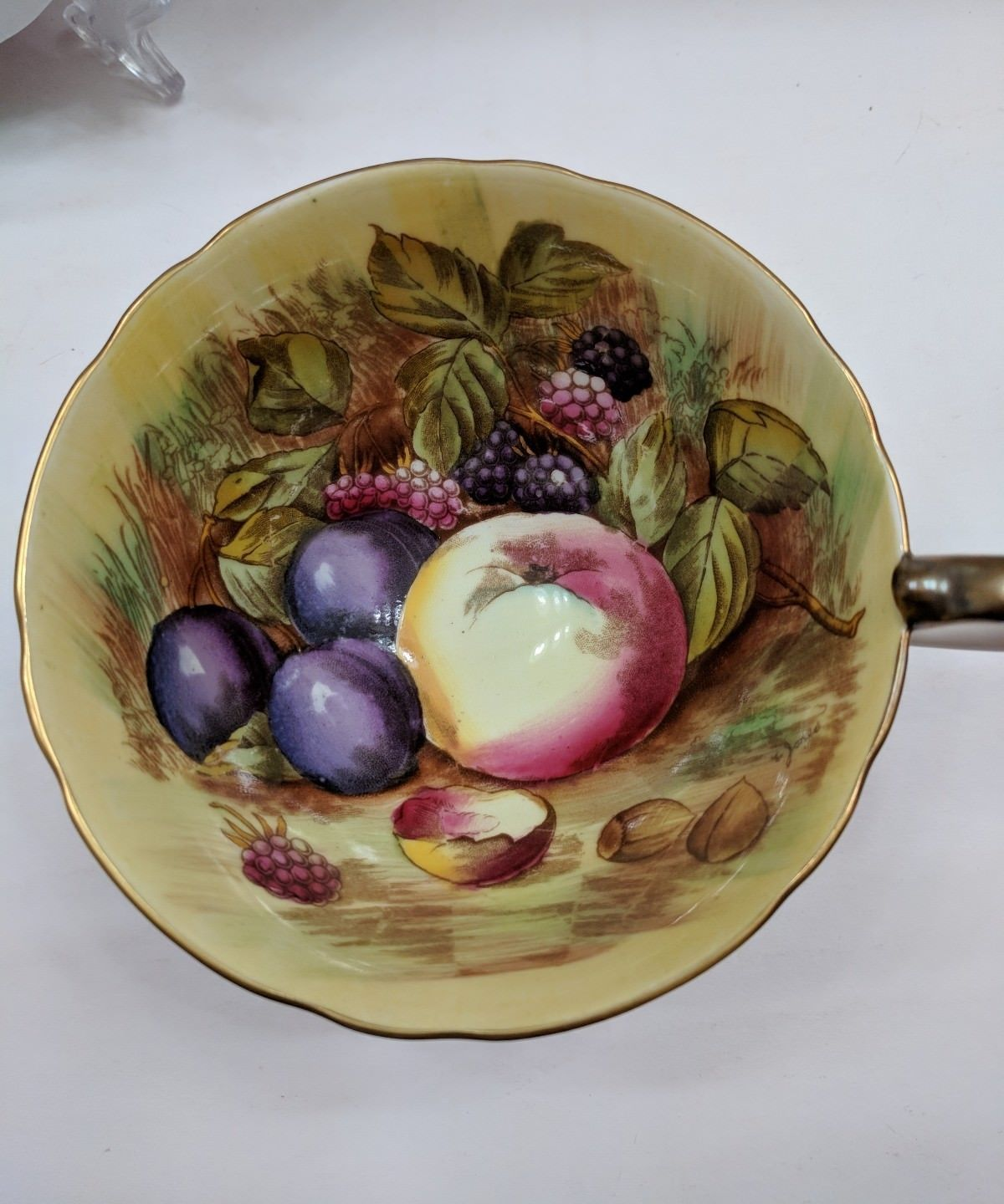 Aynsley England Tea Cup And Saucer Orchard Fruits Signed D. Jones Orange