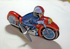 """VINTAGE Tin Toy Sanko New 6"""" Wind Up Auto Turn Motorcycle Bike Made in J... - $25.79"""