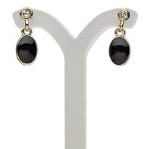 Black Rhinestone Tear Drop Earrings  Gold Plated - $5.45