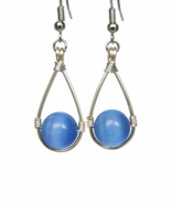 Blue Teardrop Wire Wrapped Dangling Earrings with Cat's Eye Beads - $14.90+
