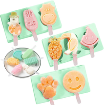 Popsicle Molds Set of 3, SiliconeIce Pop Molds Ice Cream Mold Cake with Lid - $12.86