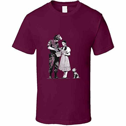 Tremendous Designs Dorothy and Police Bansky T Shirt L Burgundy