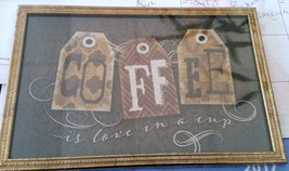 RARE PLASTIC WALL PICTURE, COFFEE is LOVE in a ... - $9.49