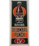 Vintage metal sign DELAWARE PUNCH soda pop door push bottle pictured 5 c... - $249.99