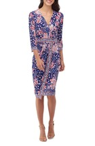 Women's Eci Floral Faux Wrap Dress in Navy, size 12 - $48.50