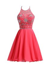 Halter A Line Sexy Homecoming Dress Short Chiffon Beaded Prom Gowns Dres... - $123.00
