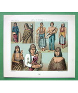 COSTUME American Indians N. California Oregon - COLOR Litho Print by A. ... - $9.45