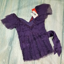 New LAPETINA & LOMELI sz S 100% silk sheer beaded dark purple blouse top... - $18.00