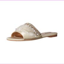 Badgley Mischka Kassandra Slide Sandal Ivory Satin, Size 9 - €92,54 EUR