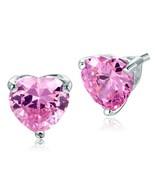 4 Ct Heart Cut Pink Amethyst Bridal Wedding Earrings 925 Sterling Silver... - $81.14
