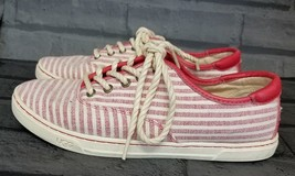 UGG Australia Womens size 7 M Canvas Sneaker Eyan II Stripe White & red - $26.10