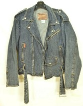 Jordache jeans jacket SZ M denim moto style vintage zippers pockets belt dark image 2