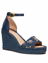 Coach Womens KIT WEDGE PRNT DNM Fabric Open Toe Ankle Strap Wedge Pumps - $73.69