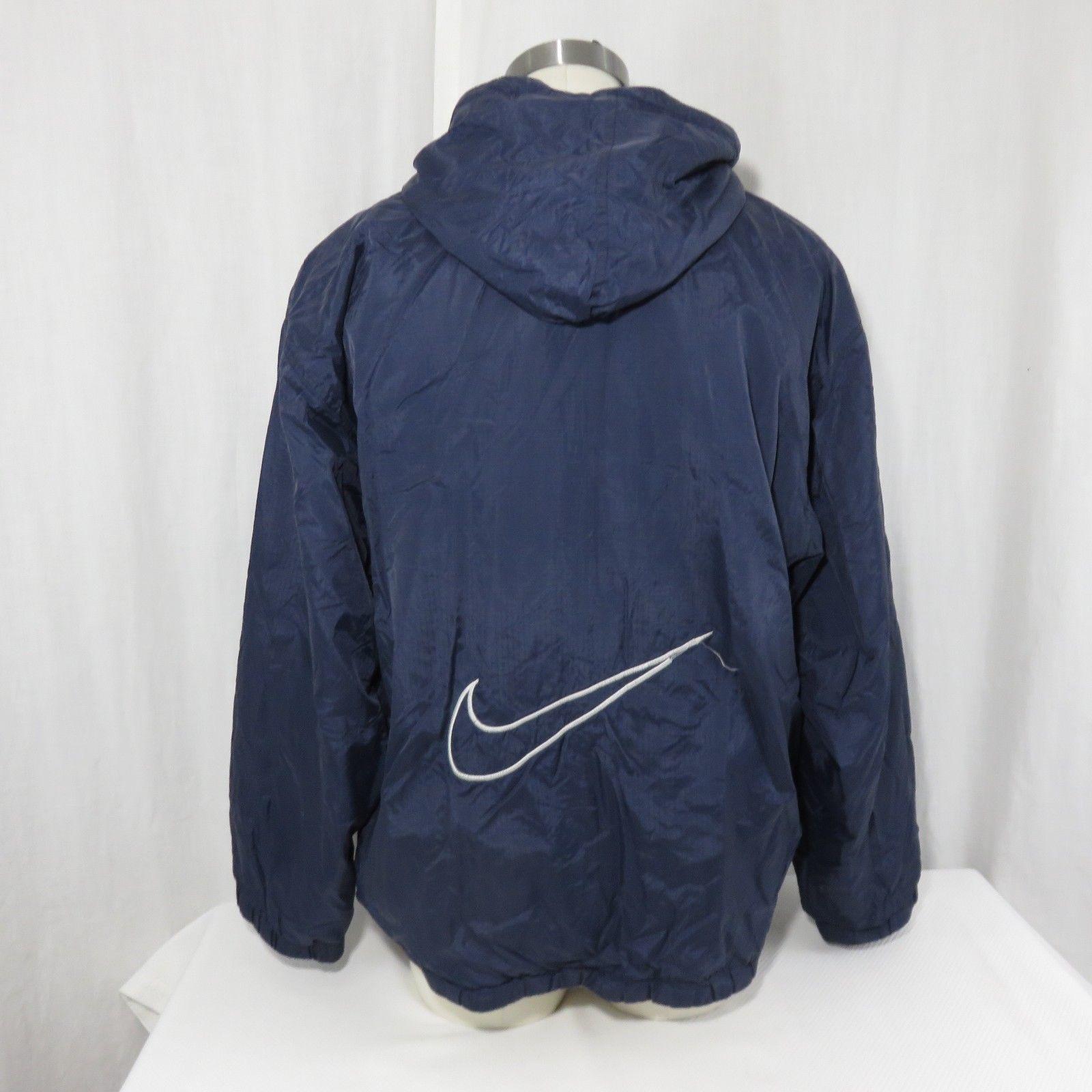 Vintage 90s Nike L Reversible Blue Gray Full Zip Hooded Fleece Nylon Big Swoosh