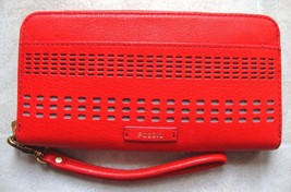 New Fossil Women Julia Rfid Leather Wristlet Clutch Variety Colors - $83.59