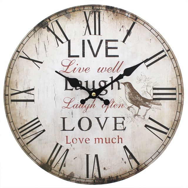 Primary image for MDF Live, Laugh & Love Rustic Effect Wall Clock; 20