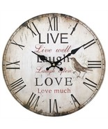 MDF Live, Laugh & Love Rustic Effect Wall Clock; 31723 - $18.90