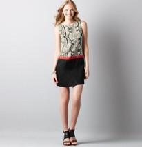 Ann Taylor LOFT Black Linen Colorblock Snake Print Shift Dress Size 2 - $29.69