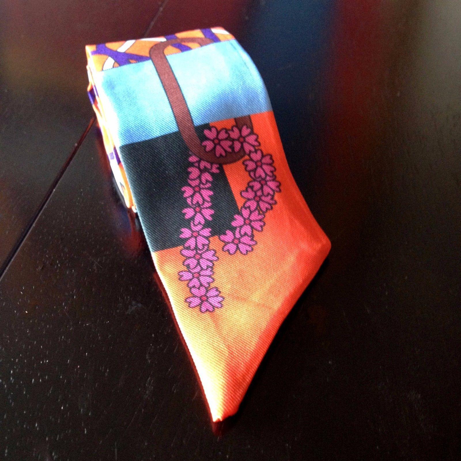 St. Germain Luxury Twilly Scarf Classic Orange Pink Blue Purse Handbag